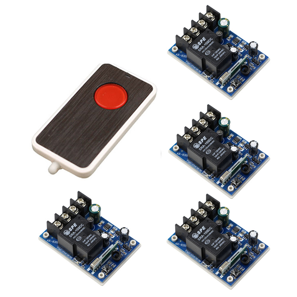 DC 12V-48V Wireless Remote Control Switch Remote Switch 12V 24V 40A Relay Module Wide Voltage Receiver Transmitter 315/433Mhz dc24v remote control switch system1receiver