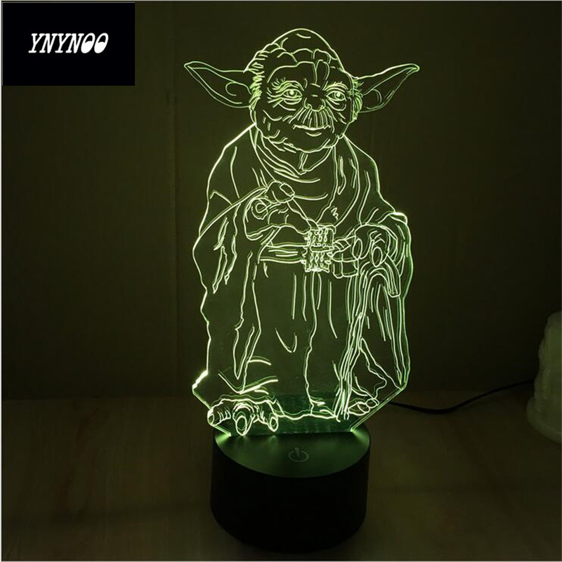 YNYNOO Star Wars BB8 droid 3D Bulbing Light toys 2016 New 7 color changing visual illusion LED lamp Yoda Millennium Falcon toy 8072 toronto blue jays baseball cap hat 3d led lamp atmosphere lamp 7 color changing visual illusion led decor lamp