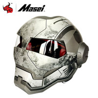 MASEI Classic Iron Man Motorcycle Helmet Casque Motocross Flip Up Moto Vintage Racing Helmets Capacete Motociclismo