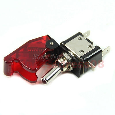 12V Car Racing On Off Aircraft Type Red LED Toggle Switch Control Red Flip Cover