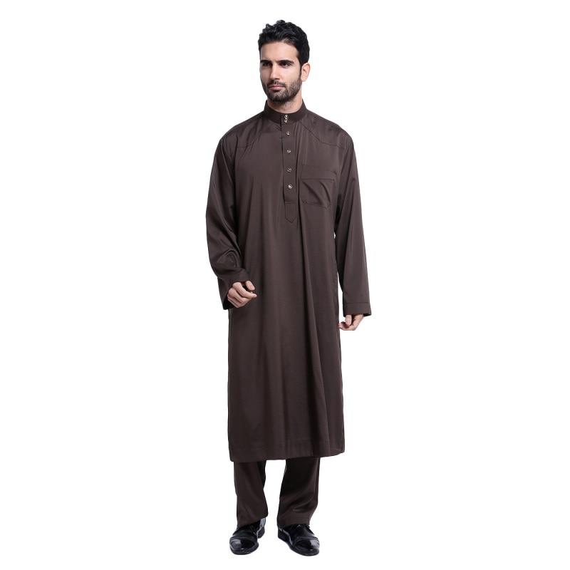 Men Long Sleeve Thobe Islamic Clothing Saudi Arab Moslim Jurk Clothing Mens Kaftan Thobe Plus Size