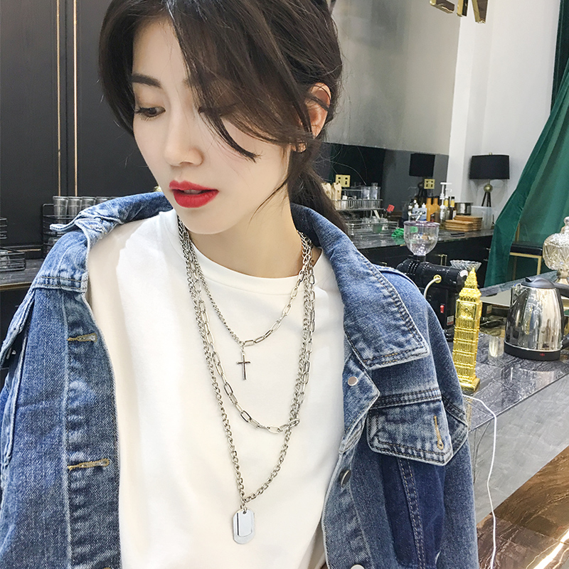 HUANZHI 2019 New Personality Cross Square Metal Multilayer Hip hop Long Chain Cool Simple Necklace For Women men Jewelry Gifts
