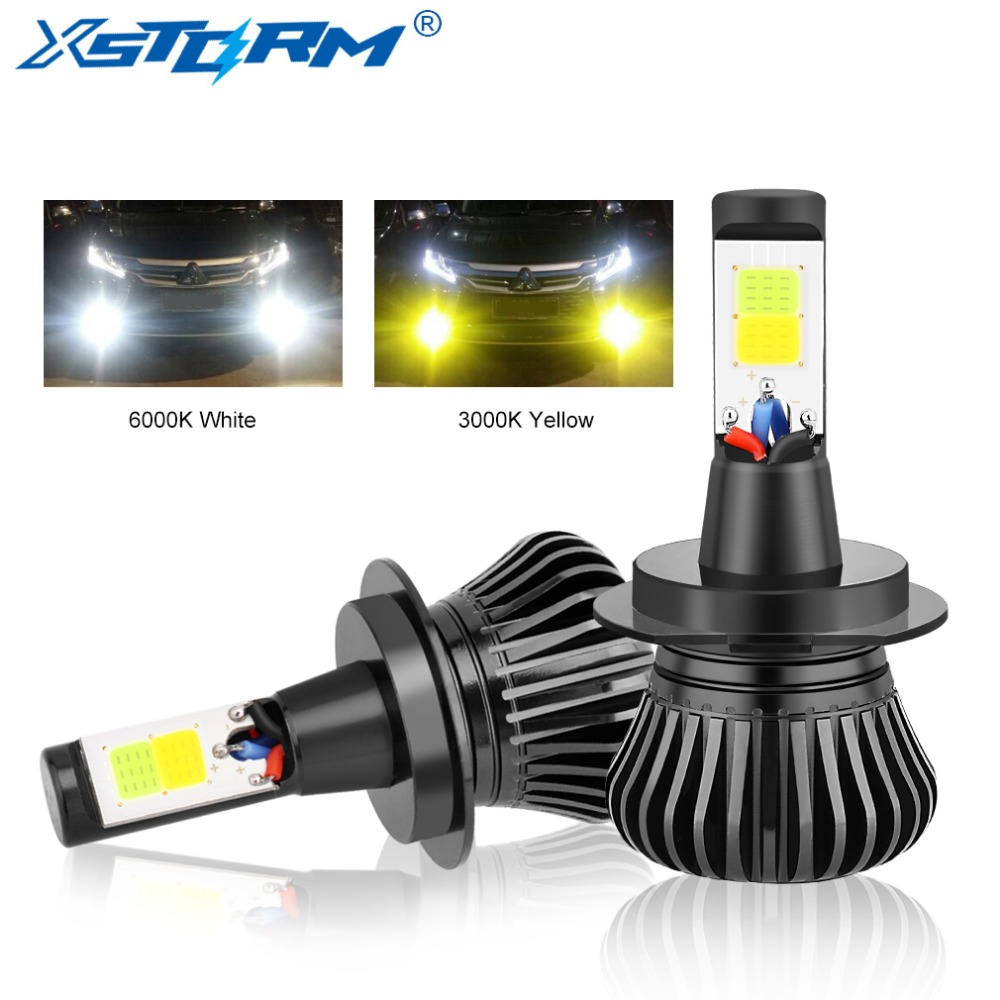 XSTORM H7 Led H1 H3 H8 H11 Led <font><b>Bulb</b></font> 9005 HB3 9006 <font><b>HB4</b></font> H27 880 881 Dual Color 2800LM Car Fog Lights Lamp Auto 12V <font><b>3000K</b></font> 6000K image
