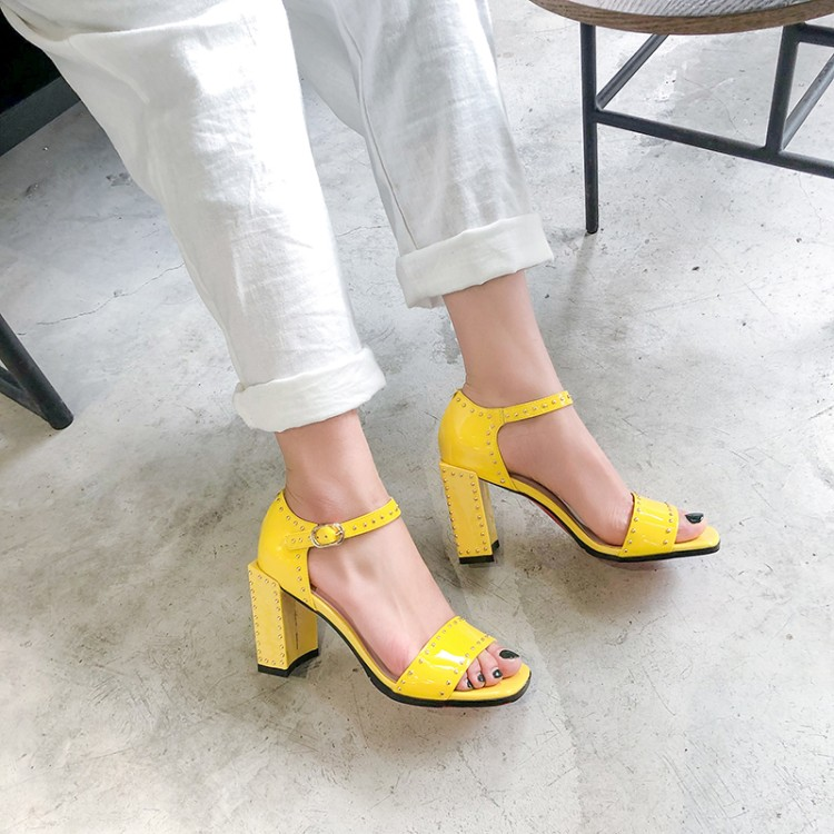 MLJUESE 2019 women sandals Cow leather buckle strap yellow color rivets open toe high heels beaches