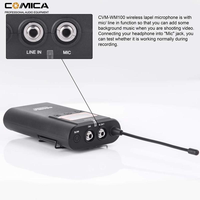 Image 5 - Comica CVM WM100 UHF 48 Channels Wireless Lavalier Lapel Microphone System for Canon Nikon Sony DSLR Cameras/ Smartphones etc.Microphones   -
