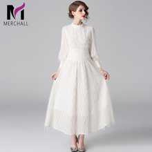 Merchall Fashion Designer Runway Dress Spring Autumn Women Lantern sleeve Elegant Maxi Dresses 2019 Robe Longue Femme