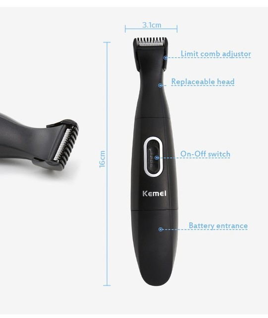 2 em 1 aparador de barba barbeador Elétrico homem rosto bateria máquina de cortar cabelo estilo bigode costeletas shaver navalha cortador aparador de barbear