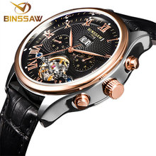 HOT BINSSAW brand luxury Mens watches Automatic font b mechanical b font watch tourbillon clock leather