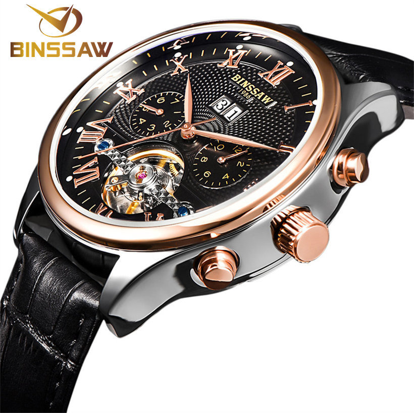HOT !BINSSAW brand luxury Mens watches Automatic mechanical watch tourbillon clock leather Casual business wristwatch relojes