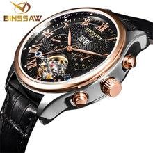 HOT! BINSSAW marque de luxe Mens montres Automatique montre mécanique tourbillon horloge en cuir montre-bracelet d'affaires Décontractée relojes