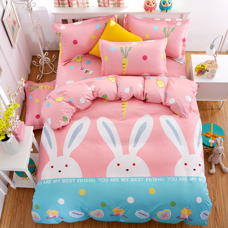 MYRU Cartoon Rabbit Pattern Boy Girl Adult Child Bedclothes 4pcs Cheap Bedding Sets Bed Cover Bed Sheet Duvet Cover Pillowcase