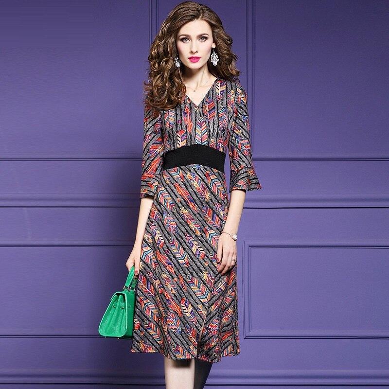 Femmes Vintage Parti Plus Qualité Supérieure Robes High Robe Imprimer Nouvelle La Taille Casual Street Bureau Hiver Automne Dames Multi 2018 vnOyNwm80P