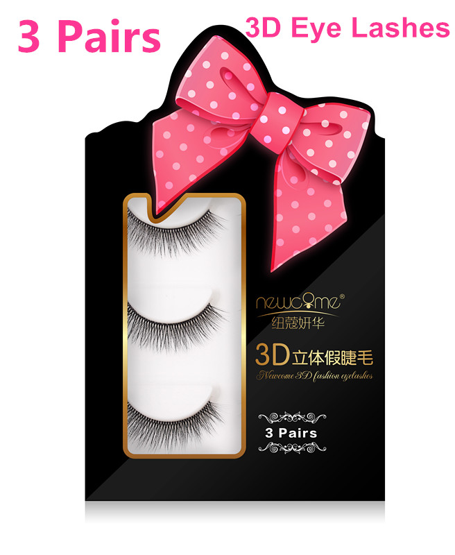 3 Pairs 100% Handmade Real Mink Fur False Eyelash 3D Strip Mink Lashes Thick Fake Faux Eyelashes Makeup Beauty False Eyelash