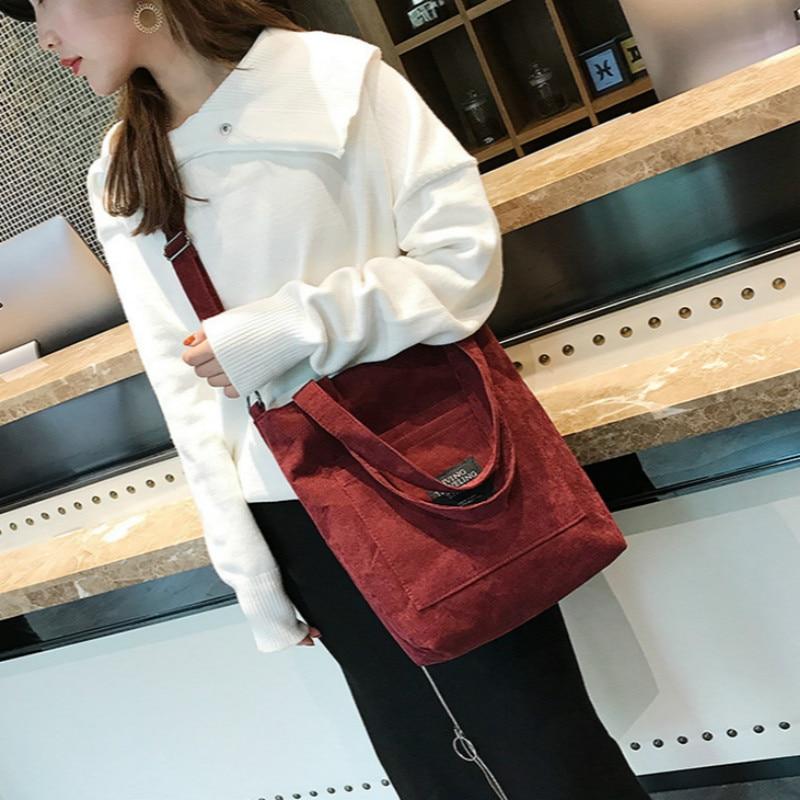 DWTS Shoulder-Bag Beach-Bag Corduroy Tote High-Capacity Casual Women Ladies Solid Foldable