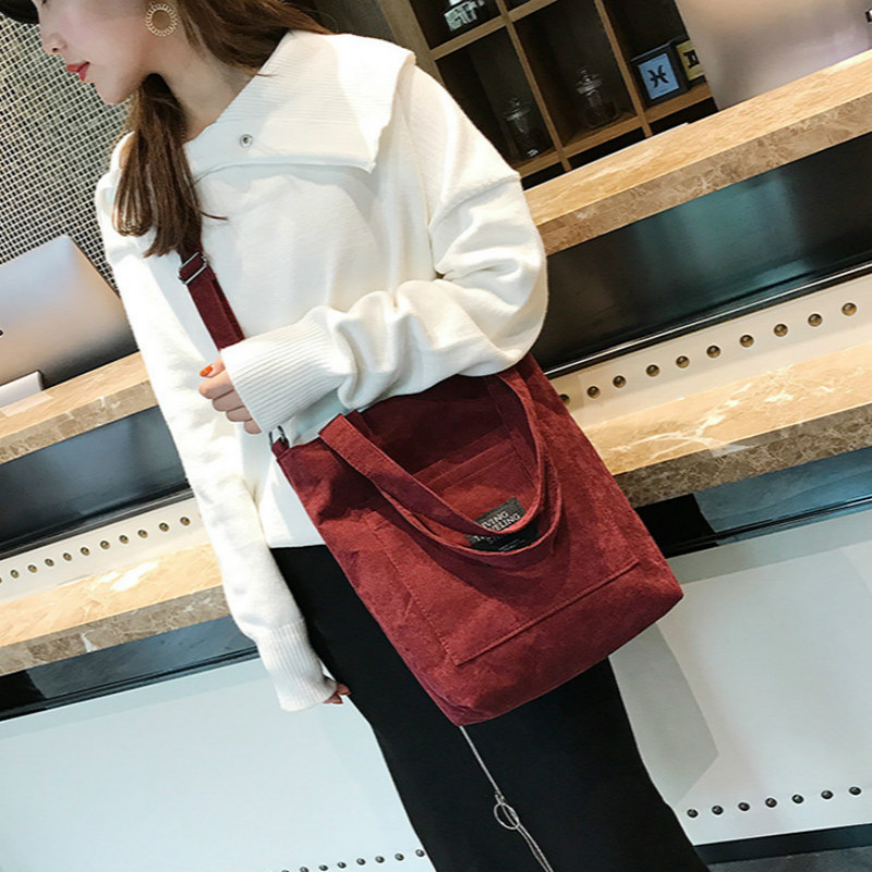 DWTS High Capacity Women Corduroy Tote Ladies Casual Solid Color Shoulder Bag Foldable Reusable Women Shopping Beach Bag