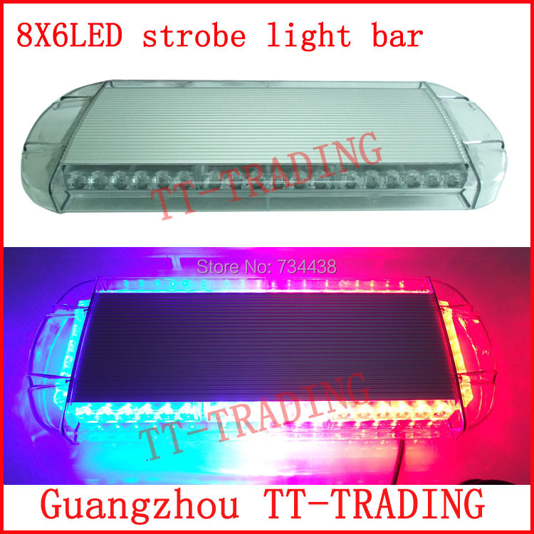 Police strobe lights 48LED strobe beacon Emergency Warning lights led strobe light bar with magnet RED BLUE WHITE AMBER DC12V 16 led flash lights warning light emergency strobe lights ambulance strobe beacon with magnet amber dc12v 24v