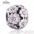 Pink Enamel Primrose Flower Beads Fit Pandora Charms Bracelet DIY Original 925 Sterling Silver Crystal Beads For Jewelry Making