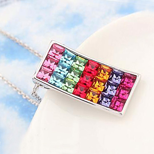 Classic Square Crystal Love Necklaces & Pendants Crystals from Swarovski  Women Fashion Jewelry Birthday Best Friends Gifts 2017