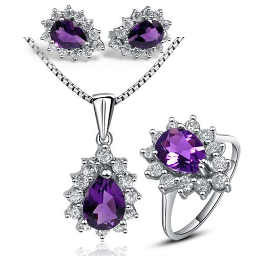 Free Shipping  Solid 925 Sterling Silver Jewelry Sets,Real Amethyst Jewelry,Genuine  Jewelry Sets  TZ03