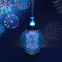 Air Humidifier Glass Vase Shape Aroma Diffuser Essential Oil 3D Fireworks Mist Maker LED Night Light Ultrasonic Humidifier Gift