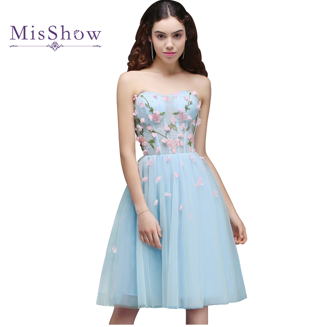2a9550d321 New short prom dresses 2018 A Line Strapless Sexy Prom Dress vestido de  festa Knee Length Dress Flower applique Party Dress