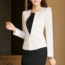 2017 Slim Spring Autumn Women V-Neck Long Sleeve Blazer Work Office Lady Business Outwear Tops Casual Coat Jacket White Blazers