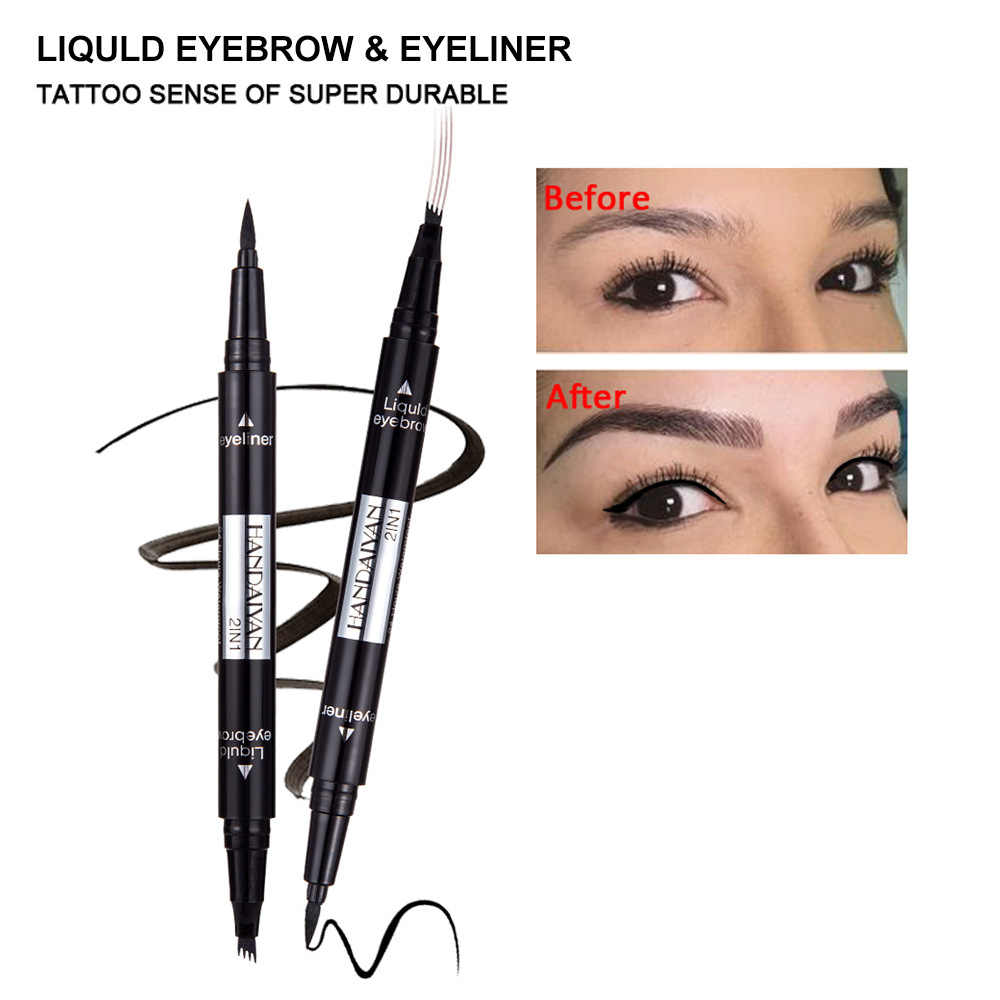 HANDAIYAN 2 in1 5 Color Double-end Waterproof Four-claw Liquid Eye Brow Tint Eye Liner Eyebrow Pencil Cosmetic Tattoo Pen TSLM2