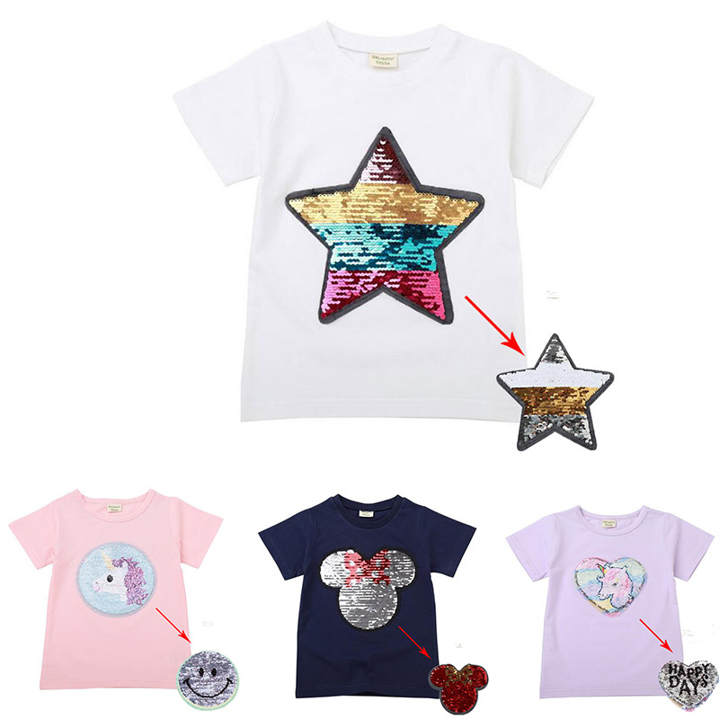 c908c417c0 2019 hot 2-8T girls change color Minnie sequin fashion t shirt pink white  Unicorn t shirt