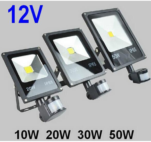 DC12V 10W 20W 30W 50W PIR LED Floodlight with Motion detective Sensor Outdoor LED Flood light Lamp landscape light ultrathin led flood light 200w ac85 265v waterproof ip65 floodlight spotlight outdoor lighting free shipping