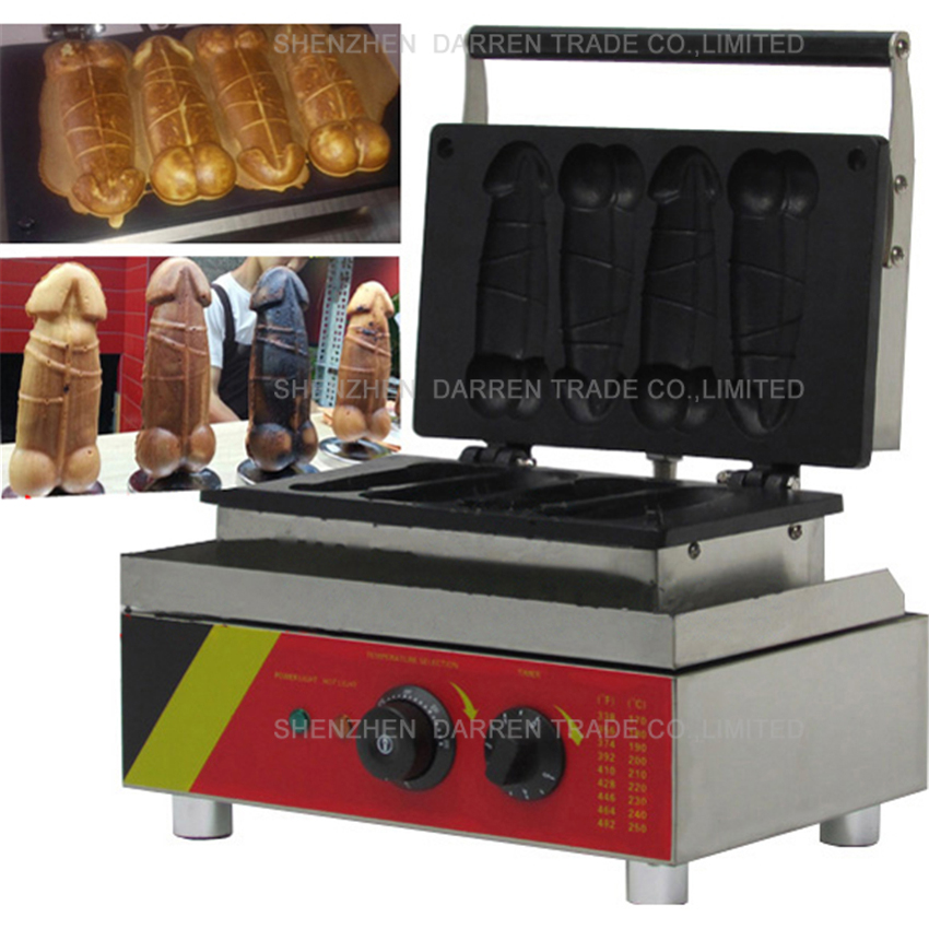 1pc NP-520 110v/ 220v Electric Hot Dog Penis Waffle Maker Machine Baker Iron 110v 220v rotating electric belgian liege waffle baker maker machine iron