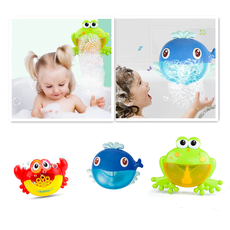 Outdoor Bubble Frog&Crabs&whale Baby Bath Toy Bubble Maker Swimming Bathtub Soap Machine Toys For Children With Music Water Toy