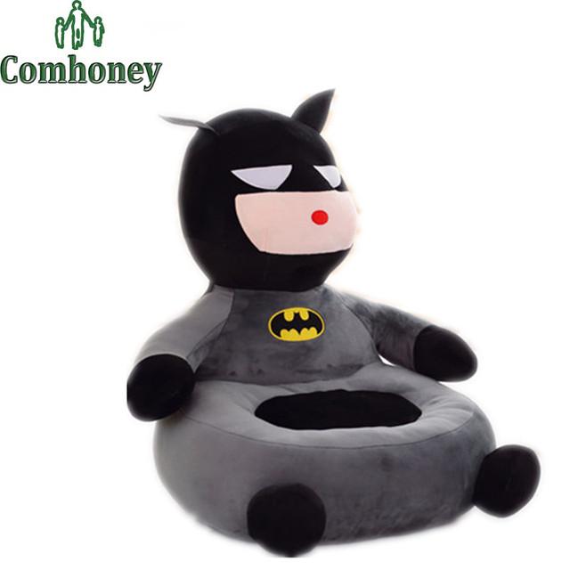 Cadeira do Saco de Feijão do bebê Sofá De Pelúcia Capitão América Superman Spiderman Batman Dos Desenhos Animados Cotton Crianças de Alimentação Do Bebê Cadeira de Assento de Bebê