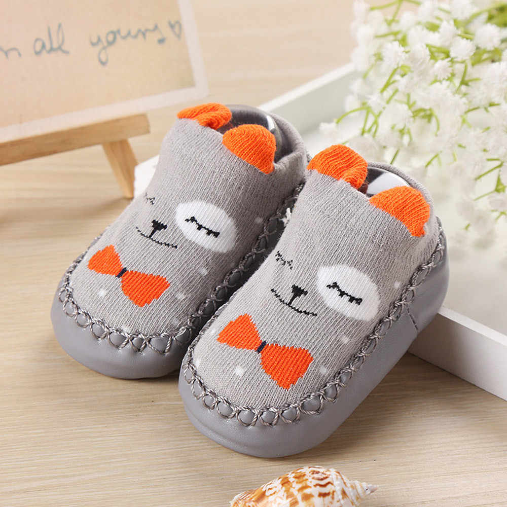 Детская обувь на резиновой подошве для новорожденных девочек и мальчиков; сезон осень-зима; детская противоскользящая обувь; носки с мягкой подошвой