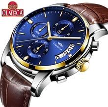 OLMECA Men's Business Wrist Watch Luminous Chronograph Auto Date Waterproof Quartz Watches relogio masculino auto date
