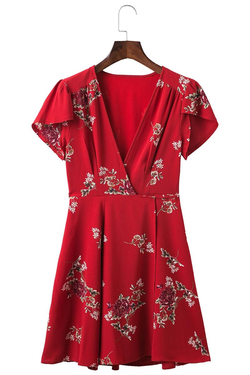 BONGOR LUSS Women Summer Dress 2017 V-Neck Cape Short Sleeve Casual Mini Dress Boho Beach Vinatge Floral Print Dress Sundress (21)