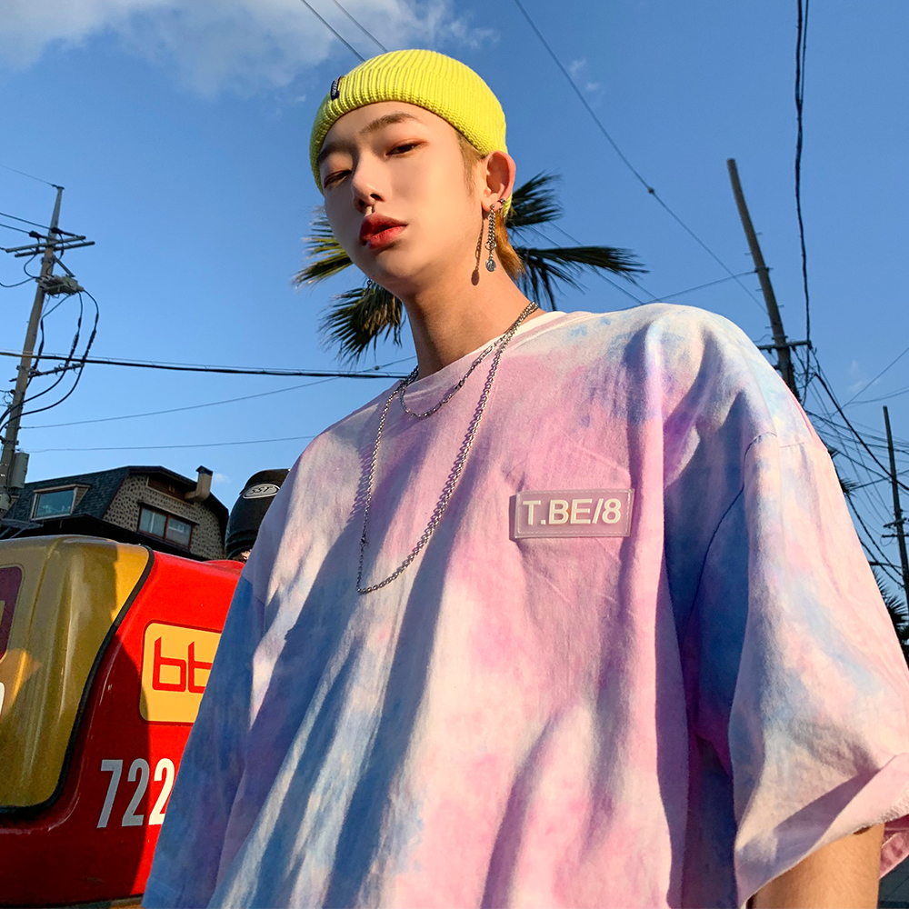 Oversize Personality Style T-shirt Hip Hop Gradient Tie-dye Trend Ins Couple Short-sleeved T-shirt Male Loose Tide Brand