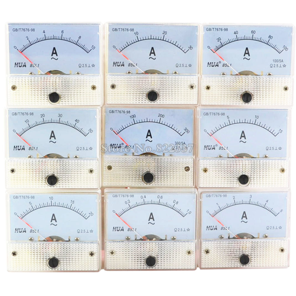85L1-A AC Amp Meters Analog Meter Panel  Measuring Range 1A 2A 3A 5A 10A 15A 20A 30A 50A 100A 300A  Micro Current