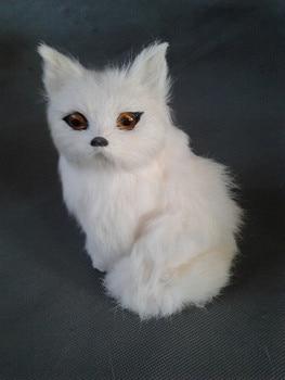 Pequeño y lindo juguete de zorro de juguete de polietileno y pieles de zorro modelo de regalo de aproximadamente 8cm x 8cm x 16cm