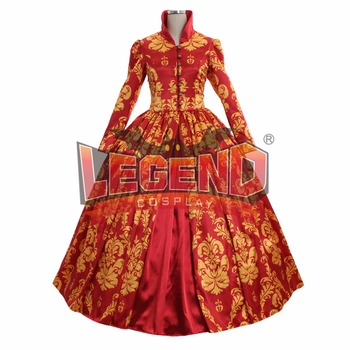 Red Renassiance Medieval Wedding Party Dress Women Ball Gowns Dance Costume custom made