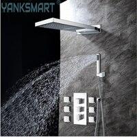 Ванная комната Насадки для душа с 6 носик и ручной душ, 2 вида Outlet Водопад осадков Насадки для душа Ванная комната квадратный Насадки для душа
