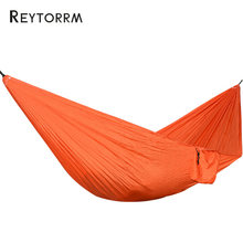 Lightweight Portable Parachute Nylon Hammock With Tree Straps Sleeping Tree Bed Nylon Portable Ultralight Hanging Hamak Double(China)