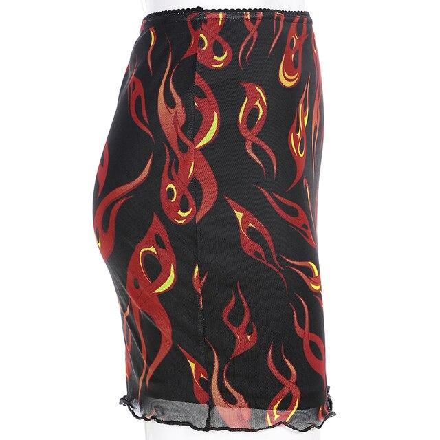 Sweetown Patchwork Mesh Sexy Skirt Harajuku Kawaii Streetwear Flaming Fire Print Skirts Womens Double Layer High Waist Skirt 6