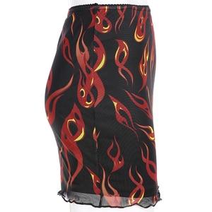 Image 5 - Sweetown falda de malla de retales para mujer, falda Sexy Harajuku Kawaii, ropa de calle llamativa, dibujo de fuego, falda de cintura alta de doble capa