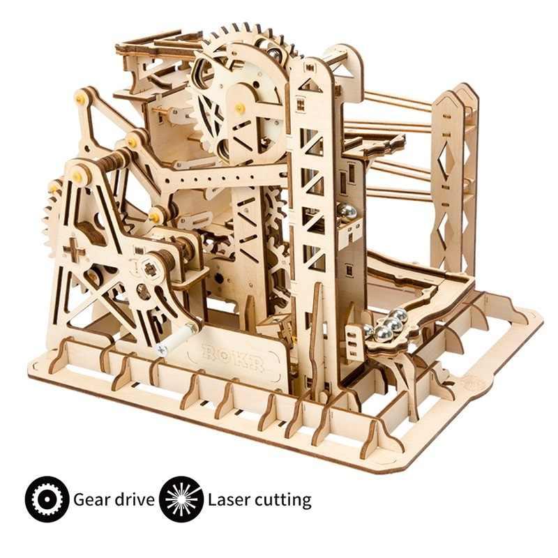 Robud 4 Tipos DIY 3D Marble Run Game Gear Drive Modelo Kits de Construção De Madeira Brinquedo para Crianças Adulto LG501-LG504 para dropshipping