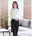 Formal Pantsuits 2 Piece Set Women Business Suits with Pant and Top Sets Elegant Ladies White Blouse Office Uniform Styles