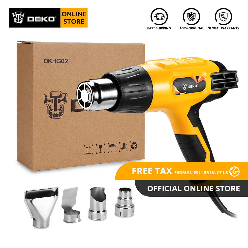 DEKO DKHG02 220V Heat Gun 2000W 3 Adjustable Temperature Advanced Electric Hot Air Gun With 4 Nozzle Attachments Power Tool
