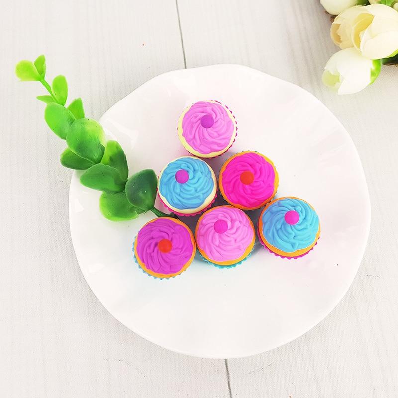 Купить с кэшбэком 2Pcs/Lot Cute Cake dessert cup Eraser Rubber Stationery  Shaped Creative kawaii School Supplies learning office supplies