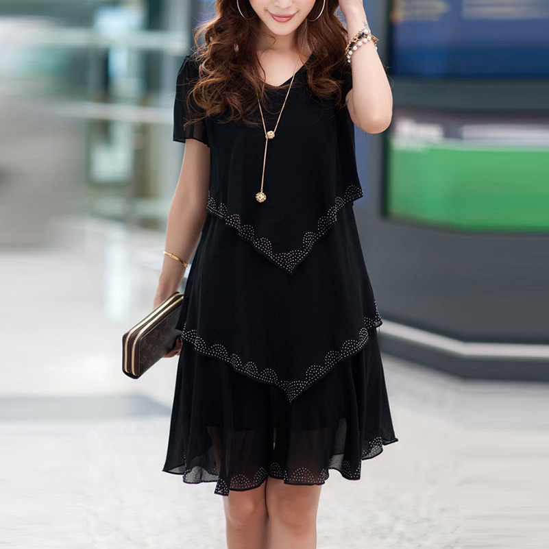 5XL Plus Size Women Clothing Chiffon Dress Summer Dresses Party Short Sleeve Casual Vestido De Festa Blue Black Robe Femme  -/