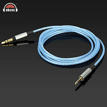 все цены на OKCSC EXK450 for K450 Audio Replacement Cables 3.5mm Male Headphone K451 K452 Q460 K480 Silver Plated With Mic Button Control онлайн