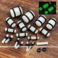 New Hot Selling 1 Pair Luminous Glow In Dark Ear Stretcher Rings Clear Bars Plug Tunnel Expander Stretchers Ear Gauges Stretcher